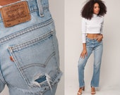Levis Jeans Bootcut Pants 80s RIPPED Jeans Blue High Waisted Grunge Boyfriend Distressed Hippie Hipster Straight Leg Vintage Medium 10 31