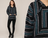 Hoodie Sweatshirt Mexican Sweater Drug Rug Woven Hippie Boho Hoody Ethnic Jacket Vintage Blanket Bohemian Stripe Black Medium