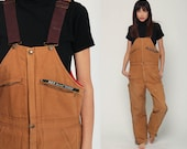 Overalls Baggy Pants Cargo Dungarees Brown LINED Coveralls Work Wear Pants Suspender Pants 80s Long Bib Workwear Vintage Small Medium