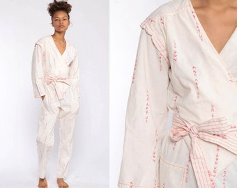 b7bb9412e66 Japanese Wrap Jumpsuit White Jumpsuit 80s Onesie High Waisted Romper Playsuit  Pants Cotton Wrap 1980s Vintage Pantsuit V Neck Small