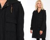 Hooded Wool Coat -- Charcoal Grey Jacket 70s Jacket Cargo Pocket Boho Coat Hood Vintage 1970s Hoodie Bohemian Winter Lined Medium