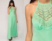 70s Boho Dress CROCHET Lace Maxi Bohemian Halter Neck Mint Green Grecian Gown 1970s Festival Vintage Hippie Empire Waist Summer Medium