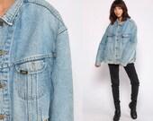 80s Denim Jacket Lee Jean Jacket Blue Denim Jacket Oversized 1980s Vintage Biker Button Up Trucker Jacket Hipster Extra Large xl
