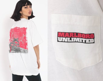 859c6f67763 Vintage Marlboro Shirt Cigarette Train Print Marlboro Unlimited Tshirt  Smokers T Shirt 90s Vintage Retro Oversize Pocket Small Medium Large
