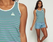 Retro Shirt Striped Tank Top 80s Shirt Ringer Tee Stripe Print Green Purple White Vintage 1980s Sleeveless Top Extra Small xs