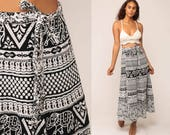 Elephant Skirt Boho Skirt Indian WRAP Cotton Batik Print 90s Maxi Grunge Hippie Black White Vintage Festival Bohemian Small Medium Large xl