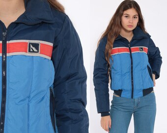 Blue Puffer Jacket Down Ski Jacket Retro 80s Striped Puffy Coat Winter 70s Color  Block 1980s Hipster 1970s Puff Extra Small xs 2ac0a455a