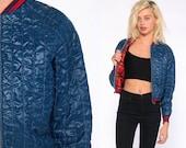 Quilted Bomber Jacket 80s Dark Blue Baseball Jacket Plaid Lined Ski Jacket Puffy Retro Coat 1980s Hipster Nylon Vintage Puff Extra Small xs