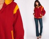 Letterman Jacket 80s WOOL Varsity Hooded Bomber Jacket Hood Baseball Jacket Sport Coat Vintage Red Sports Stripe Snap Up Small