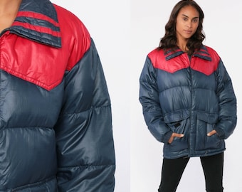 6a1e4f5cbaed Down Puffer Jacket Ski Jacket Retro 80s Striped Puffy Coat Winter 70s Color  Block CHEVRON Navy Blue Red 1980s 1970s Puff Medium Large