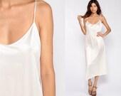 Off-White Slip Dress Midi Dress Vintage 90s Grunge Lingerie Chemise Sexy Sheath 1990s Plain Spaghetti Strap Extra Large xl