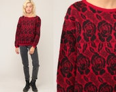 Floral Sweater Red Wool Sweater 80s Sweater Boho Vintage Hippie Slouchy Retro Slouch Bohemian Pullover Black Rose Medium