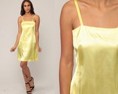 Yellow Mini Dress 1970s Dress Sheath Dress Cocktail Bohemian Disco Grecian Mini 70s Boho Party Spaghetti Strap Vintage Sexy Extra Small xs