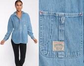 Ralph Lauren Jean Shirt Denim Shirt 90s Blue Jean Shirt Grunge 1990s Long Sleeve Boyfriend Button Up Vintage Medium Large
