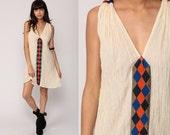 Cotton Gauze Dress Bohemian Mini 70s EMBROIDERED Ethnic Festival Hippie Boho Tunic V Neck Vintage Cream Sleeveless Sundress Medium Large
