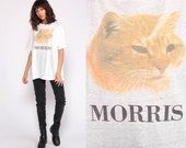 Morris The Cat Shirt Graphic Tshirt 80s 9 Lives Tee Animal Print Paper Thin Burnout Tee 1980s Vintage T Shirt Extra Large xl
