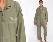 Comandante Niño Costume Army Coveralls Flight Suit Military Jumpsuit Drug Lord Pantsuit Vintage Long Sleeve Romper Olive Green Medium Large