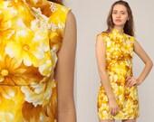 Boho Dress 70s Mini Floral Dress Asian Cheongsam Dress 1970s Vintage Chinese Hippie Mandarin Collar Bohemian Yellow Extra Small xs