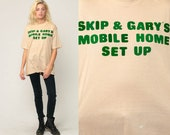 Graphic Shirt Skip & Gary's MOBILE HOME Set Up 70s Burnout Tee Trailer Park Tshirt 80s Vintage Paper Thin T Shirt Slogan Extra Large xl