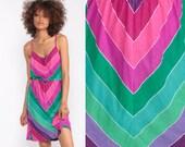 70s Sundress Boho CHEVRON Dress Striped Midi Pink Lavender Hippie 1970s Bohemian Spaghetti Strap Sun Summer High Waist Small Medium