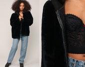 Fake Fur Coat HOODED Coat 80s Faux Fur Jacket Black Hoodie Jacket 1980s Boho Hood Vegan Bohemian Vintage Hipster Zip Up Extra Large xl