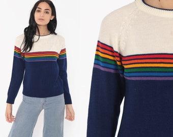 b1fac2300a6 Levi Rainbow Sweater 80s Kawaii Blue Striped Knit Jumper Levis Pullover Ski  Slouchy 1980s Boho Slouch Vintage Retro Bohemian Small Medium