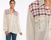 Thin Plaid Shirt 70s Beige Cotton Button Down up Western Hippie Boho Vintage Hipster Checkered Long Sleeve 1970s Pocket Extra Large xl l