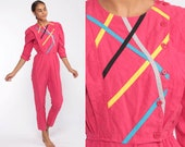 Hot Pink Jumpsuit Puff Sleeve 80s Jumpsuit TAPERED Pants Neon Romper Pants Onesie Pantsuit Vintage 3/4 Sleeve Button Up Extra Small xs s