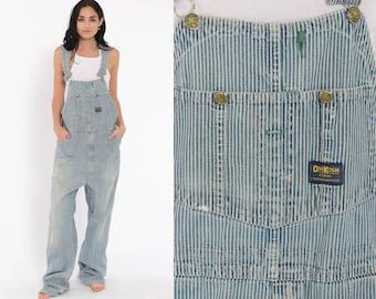 e0b36ac69378 Osh Kosh Overalls Striped Conductor Overalls 80s Denim Osh Kosh Jeans  DISTRESSED Grunge Pants Baggy Long Blue Bib Vintage Medium Large Tall