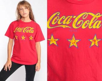 f5f59ba2572 Coca Cola TShirt ENJOY COKE T Shirt 90s Graphic Tshirt Distressed 1990s  Vintage Retro Tee Soda Pop Red Medium Large