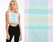 Pastel Crop Top BOW BACK Shirt Plaid Blouse 90s Checkered Shirt Tank Top 1990s Sleeveless Vintage Hipster Retro Teal Green Extra Small xs