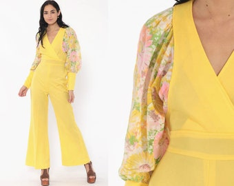 d65c9d3b7ab 70s Bell Bottom Jumpsuit Yellow Boho Floral Puff Sleeve 1970s V Neck Hippie  Vintage Bohemian Pantsuit Pants Long Sleeve Small