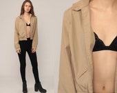 Bomber Jacket Khaki Jacket 80s Jacket Coat Moto Jacket Cropped Jacket Tan Vintage 1980s Plain Hipster Small