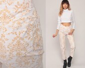 Corduroy Pants 80s Tapered Trousers White Floral Pants Mom Trousers Damask Print High Waisted 90s Vintage Hipster Medium 28 8