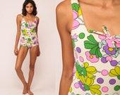 Floral Swimsuit One Piece Bathing Suit 70s Hippie Boho 1970s Swim Suit Vintage Onepiece Boyshort Pin Up Retro White Hot Pink Small