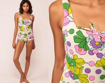 e0d09d05b9 Floral Swimsuit One Piece Bathing Suit 70s Hippie Boho 1970s Swim Suit  Vintage Onepiece Boyshort Pin Up Retro White Hot Pink Small