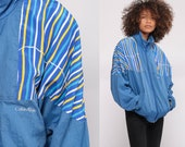 80s Windbreaker Jacket Calvin Klein Jacket 90s Jacket Streetwear Blue Striped CK Jacket Warm Up Sports Hipster Vintage Small Medium