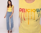 Retro TShirt DELICIOUS Shirt Graphic Shirt Vintage T Shirt 70s Tee Hipster Tshirt Slogan Baby Tee Girly Short Sleeve 80s Extra Small xs