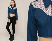 Floral Crop Top Western Shirt 70s Blouse Blue Cowboy Shirt Button Up 1970s Vintage Hipster Long Sleeve Blouse Small