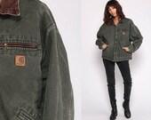 Carhartt Jacket 90s Jacket Green Bomber Streetwear Zip Up Grunge Vintage Workwear Retro Cotton Hipster Work Wear Extra Large xl