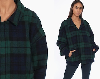 ea4d31c83a72e 80s Pendleton Bomber Jacket -- Wool Plaid 1980s Jacket reppy 1980s Green  Navy Blue Checkered Zip Up Extra Large xl