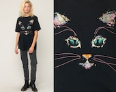 Cat Face Shirt Cat Tshirt Metallic Painted Animal Top 90s Graphic T Shirt Screen Print Tee 1990s Black Vintage Large