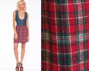 fe2d3cd1ad Denim Jumper Dress 90s Mini Jean PLAID Denim Grunge Checkered Vintage 1990s  Button Up High Waisted Sleeveless Blue Sleeveless Medium 10