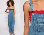 Bib Overalls Denim Overalls Pants Jeans 90s BUM Equipment Grunge Pants Wide Leg Baggy Blue Long Dungarees Hipster Vintage Small