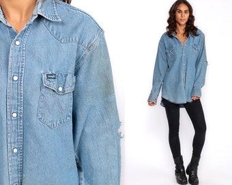 fdd1233dc2d Denim Shirt 90s Wrangler Shirt DISTRESSED Western Jean Pearl Snap Ripped  Shirt Grunge Blue Long Sleeve Button Up Vintage Medium Large