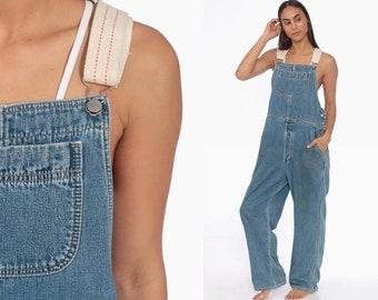 36719ec3bba4 90s GAP Denim Overalls -- 1990s Denim BUTTON FLY Jeans 90s Denim Plaid  Lining Pants Bib Overalls Long Jean Pants Vintage Carpenter Medium