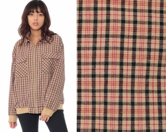 6979093ddba50 Plaid Bomber Jacket 80s Jacket Tan Tartan Grunge Hipster Preppy 1980s  Checkered Button Up Vintage Cotton Medium Large