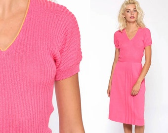 021e1ebbb0c Hot Pink Sweater Dress 70s Knit Dress Midi V Neck High Waisted Short Sleeve  1970s Cozy Winter Boho Hipster 1970s Vintage Extra Small xs