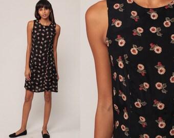 9e7512822f4 Floral Mini Dress 90s SUNFLOWER Dress Grunge Boho Black Floral Print 1990s  Bohemian Shift Sheath Vintage Sleeveless Hippie Extra Small xs