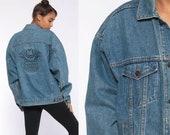 Winston Rodeo Jean Jacket -- 80s Denim Jacket Blue Denim Jacket Oversized 90s Vintage Biker Cowboy Trucker Jacket Hipster Large